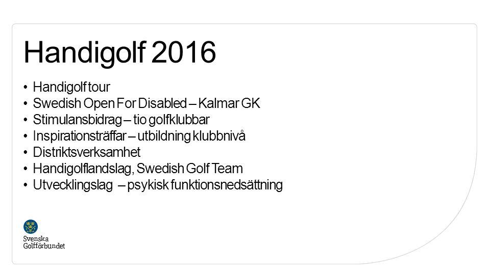 Handigolf tour Swedish Open For Disabled – Kalmar GK Stimulansbidrag – tio golfklubbar Inspirationsträffar – utbildning klubbnivå Distriktsverksamhet Handigolflandslag, Swedish Golf Team Utvecklingslag – psykisk funktionsnedsättning Handigolf 2016