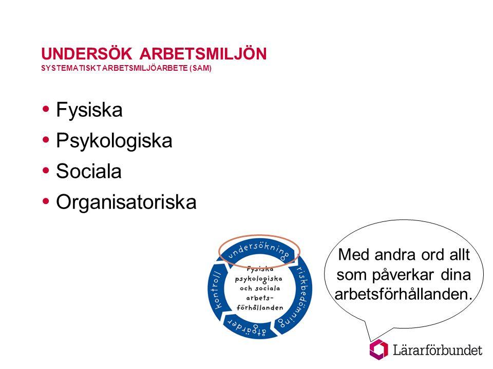 UNDERSÖK ARBETSMILJÖN SYSTEMATISKT ARBETSMILJÖARBETE (SAM)  Fysiska  Psykologiska  Sociala  Organisatoriska Med andra ord allt som påverkar dina arbetsförhållanden.
