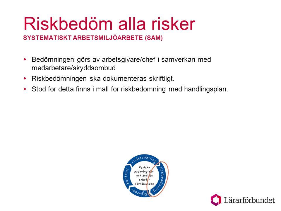 Riskbedöm alla risker SYSTEMATISKT ARBETSMILJÖARBETE (SAM)  Bedömningen görs av arbetsgivare/chef i samverkan med medarbetare/skyddsombud.