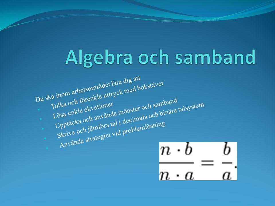 Du ska inom arbetsområdet lära dig att Tolka och förenkla uttryck med bokstäver Lösa enkla ekvationer Upptäcka och använda mönster och samband Skriva och jämföra tal i decimala och binära talsystem Använda strategier vid problemlösning