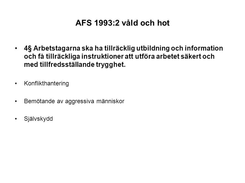 AFS 1993:2 våld och hot 4§ Arbetstagarna ska ha tillräcklig utbildning och information och få tillräckliga instruktioner att utföra arbetet säkert och med tillfredsställande trygghet.