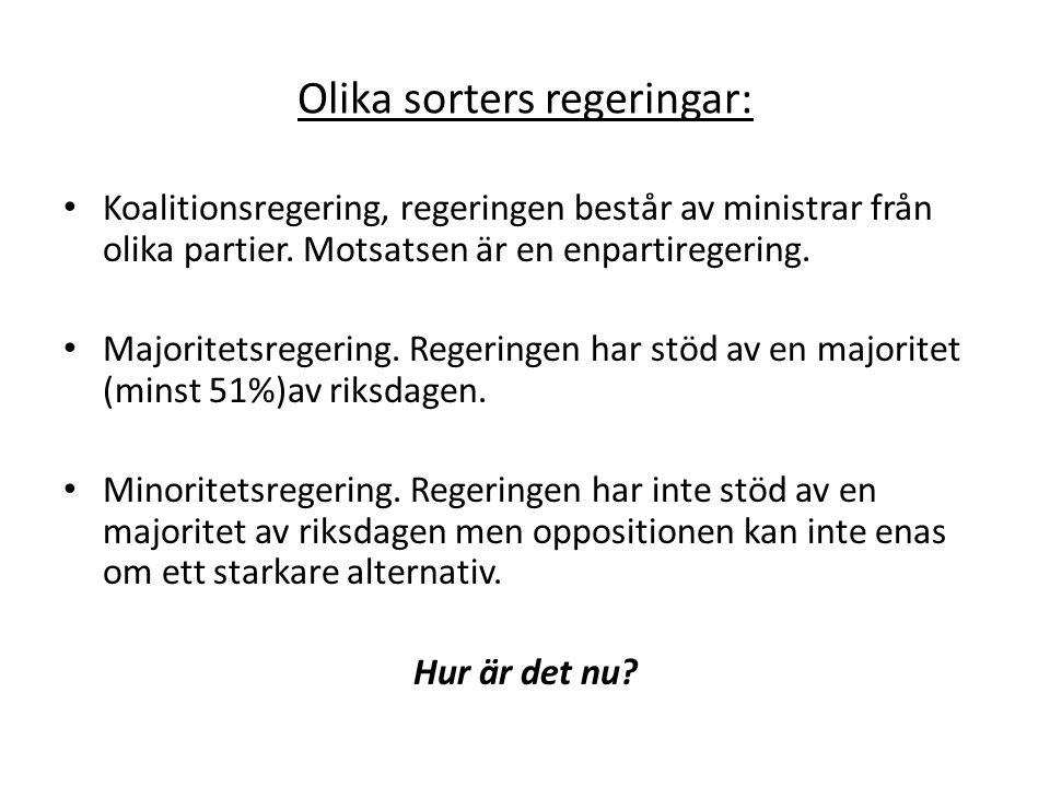 Olika sorters regeringar: Koalitionsregering, regeringen består av ministrar från olika partier.