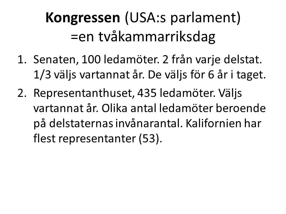 Kongressen (USA:s parlament) =en tvåkammarriksdag 1.Senaten, 100 ledamöter.