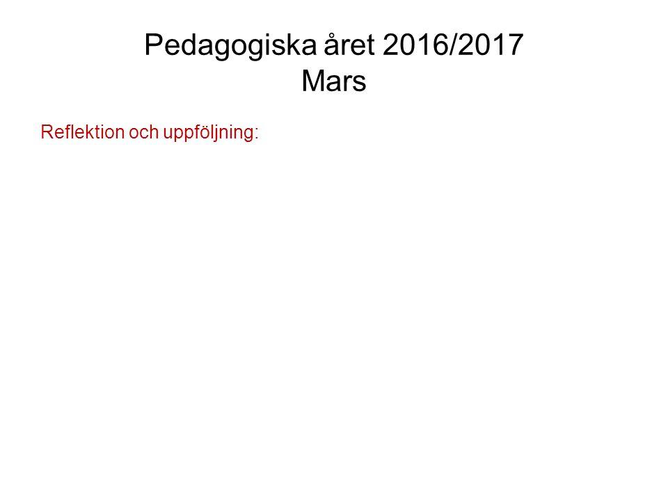 Pedagogiska året 2016/2017 April Projektperiod: Vi fördjupar och fokuserar på arbetet inom projekten.