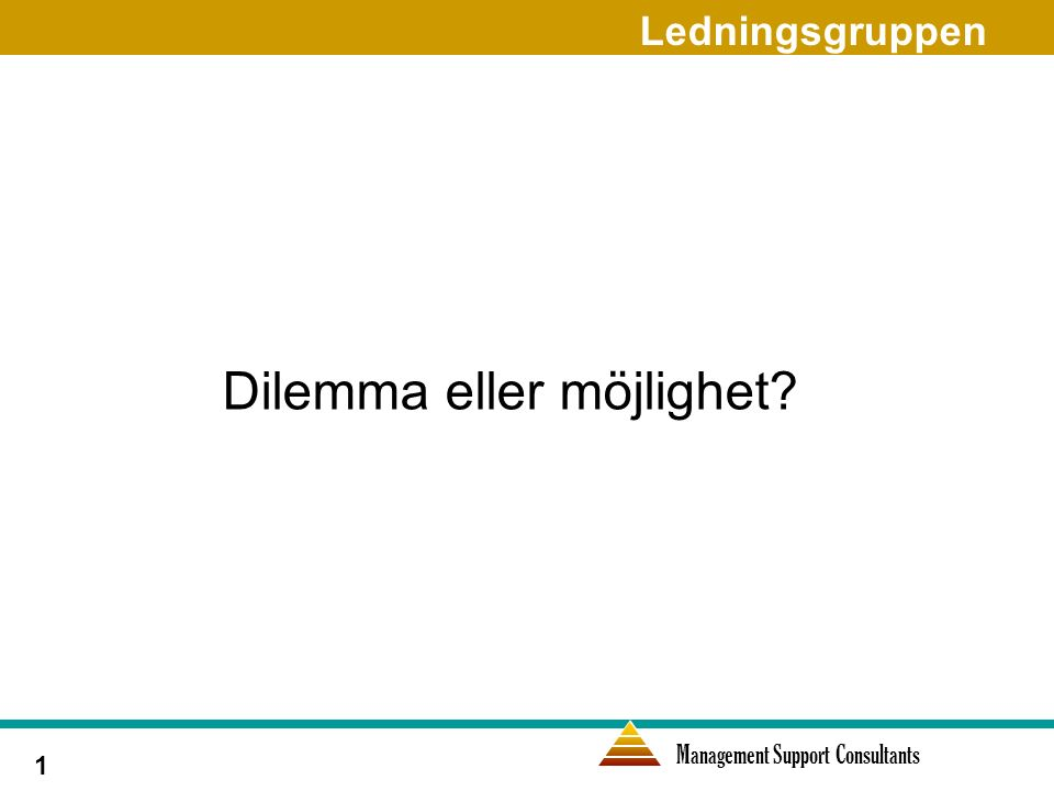 Management Support Consultants 1 Dilemma eller möjlighet Ledningsgruppen