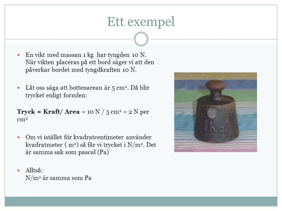 Ett exempel En vikt med massan 1 kg har tyngden 10 N.