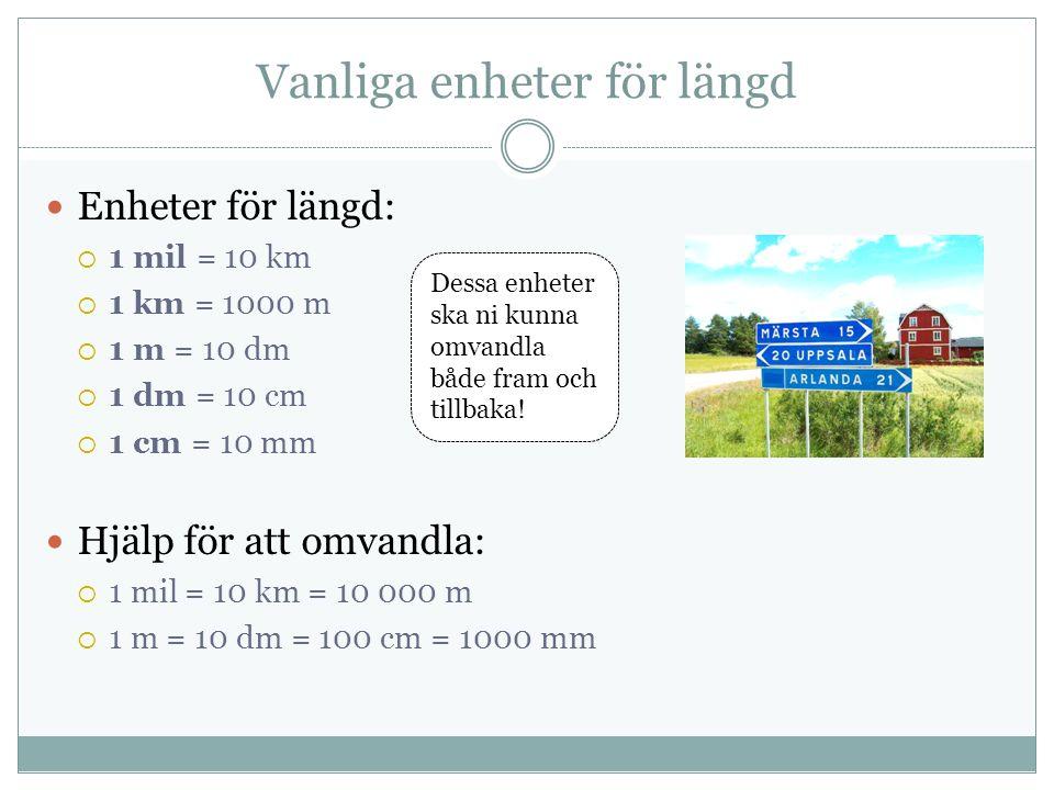 Vanliga enheter för längd Enheter för längd:  1 mil = 10 km  1 km = 1000 m  1 m = 10 dm  1 dm = 10 cm  1 cm = 10 mm Hjälp för att omvandla:  1 mil = 10 km = 10 000 m  1 m = 10 dm = 100 cm = 1000 mm Dessa enheter ska ni kunna omvandla både fram och tillbaka!