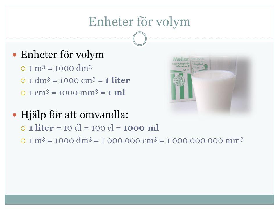Enheter för volym  1 m 3 = 1000 dm 3  1 dm 3 = 1000 cm 3 = 1 liter  1 cm 3 = 1000 mm 3 = 1 ml Hjälp för att omvandla:  1 liter = 10 dl = 100 cl = 1000 ml  1 m 3 = 1000 dm 3 = 1 000 000 cm 3 = 1 000 000 000 mm 3