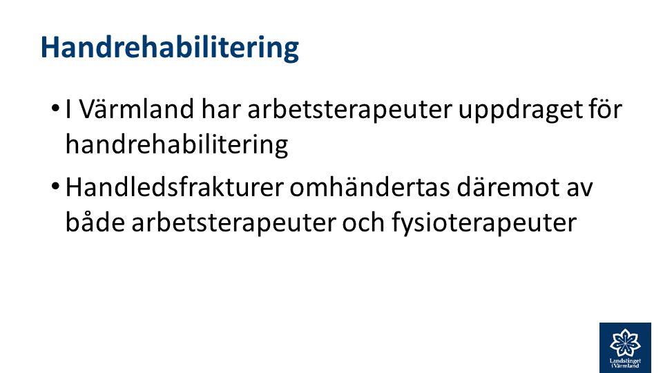 Handrehabilitering I Värmland har arbetsterapeuter uppdraget för handrehabilitering Handledsfrakturer omhändertas däremot av både arbetsterapeuter och fysioterapeuter