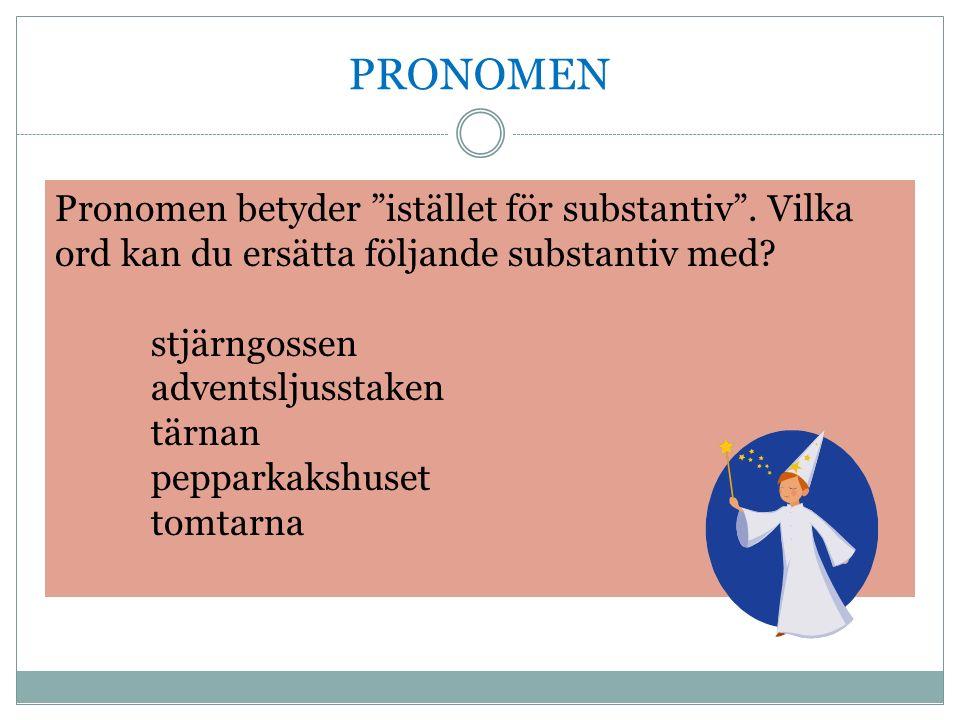 PRONOMEN Pronomen betyder istället för substantiv .