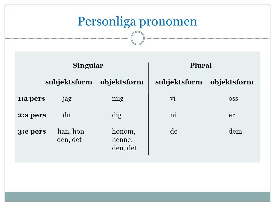 Personliga pronomen Singular Plural subjektsformobjektsformsubjektsformobjektsform 1:a pers jag mig vi oss 2:a pers du dig ni er 3:e pers han, hon honom, de dem den, det henne, den, det