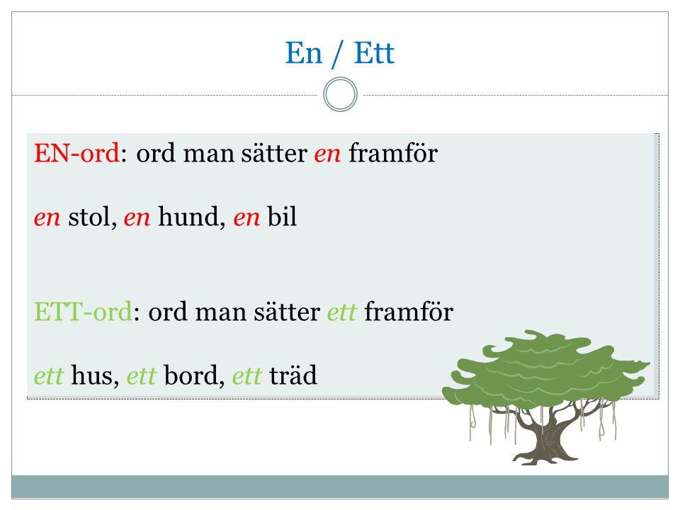 En / Ett EN-ord: ord man sätter en framför en stol, en hund, en bil ETT-ord: ord man sätter ett framför ett hus, ett bord, ett träd