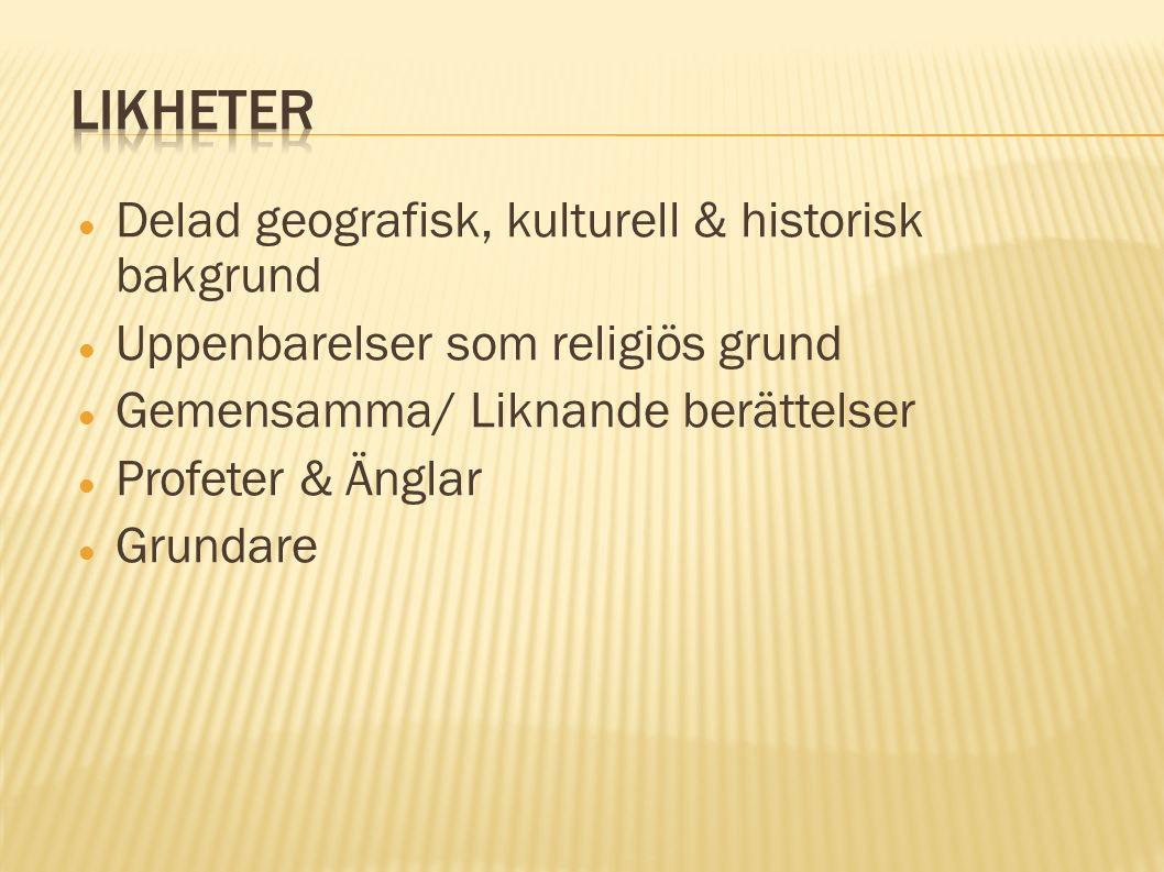 Delad geografisk, kulturell & historisk bakgrund Uppenbarelser som religiös grund Gemensamma/ Liknande berättelser Profeter & Änglar Grundare