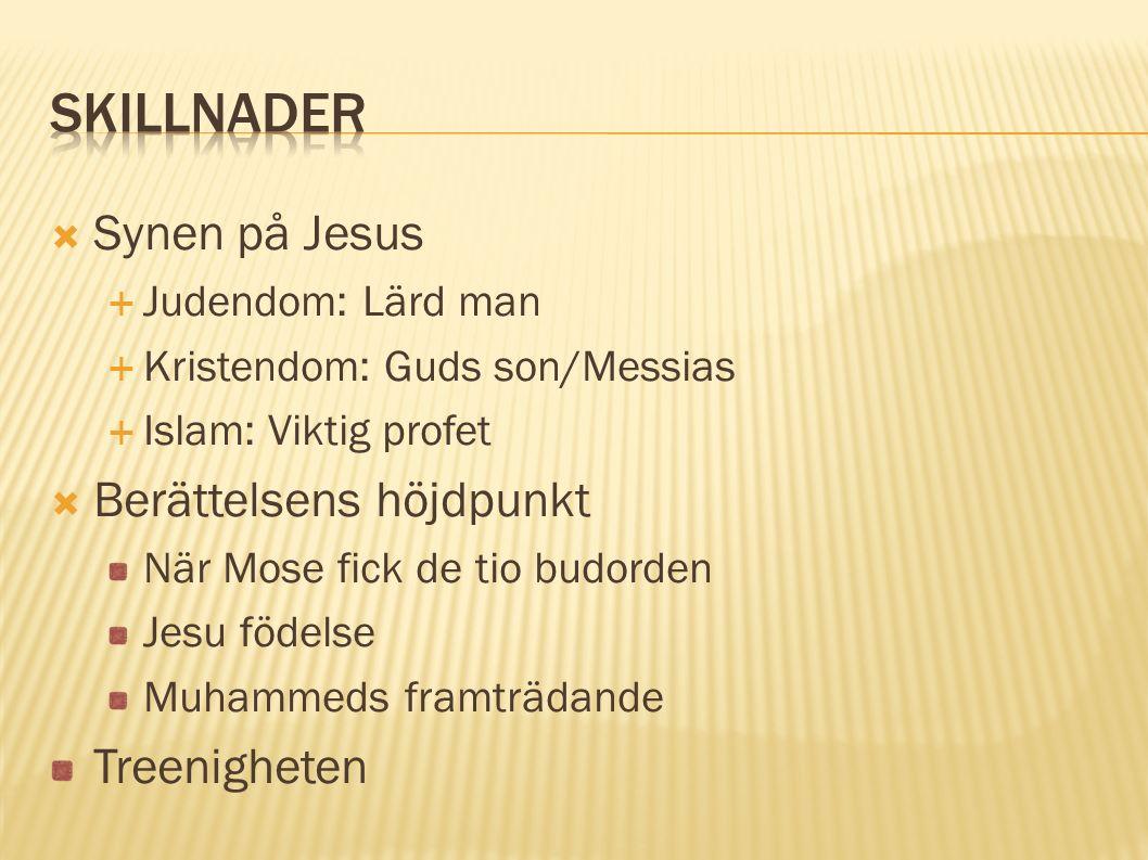 Synen på Jesus  Judendom: Lärd man  Kristendom: Guds son/Messias  Islam: Viktig profet  Berättelsens höjdpunkt När Mose fick de tio budorden Jes