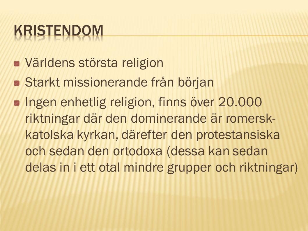Världens största religion Starkt missionerande från början Ingen enhetlig religion, finns över 20.000 riktningar där den dominerande är romersk- katol