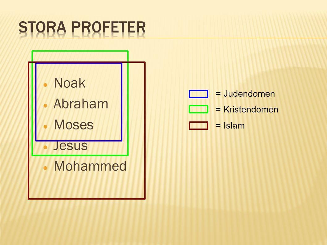 Noak Abraham Moses Jesus Mohammed = Judendomen = Kristendomen = Islam
