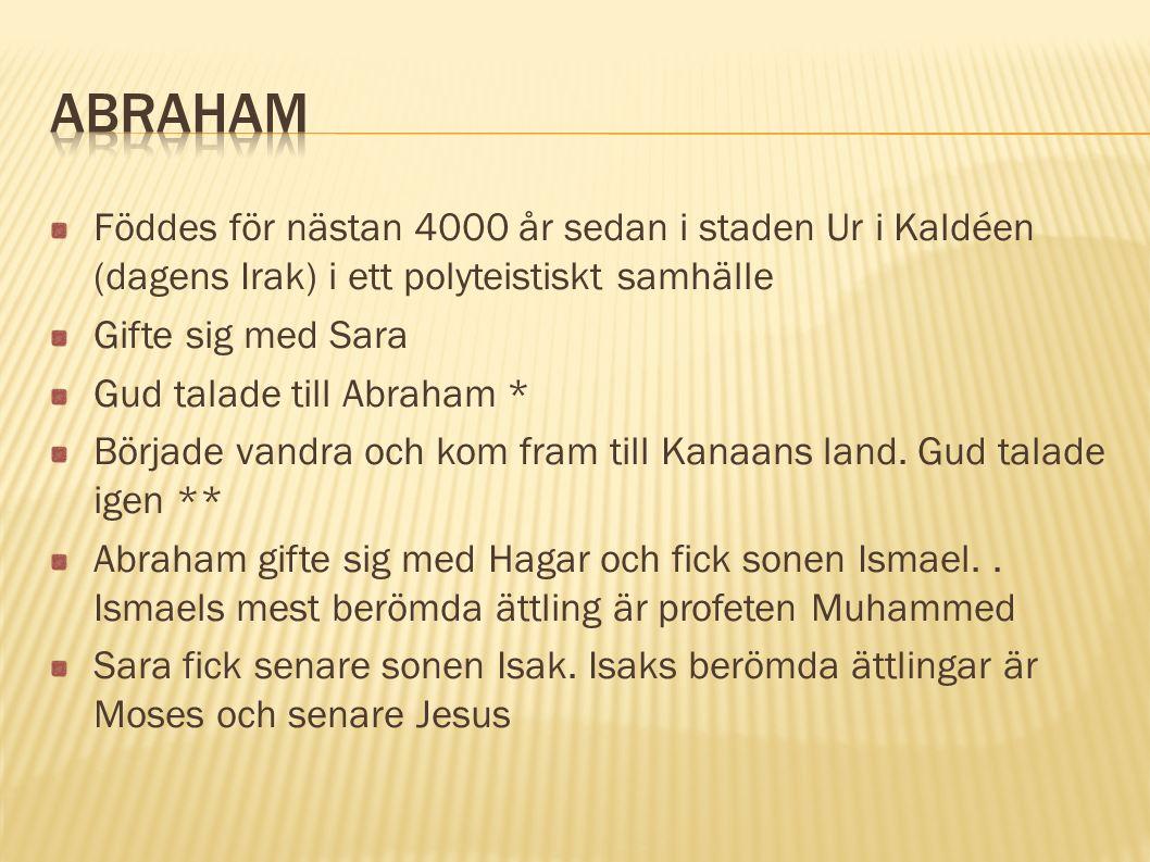 Föddes för nästan 4000 år sedan i staden Ur i Kaldéen (dagens Irak) i ett polyteistiskt samhälle Gifte sig med Sara Gud talade till Abraham * Började vandra och kom fram till Kanaans land.
