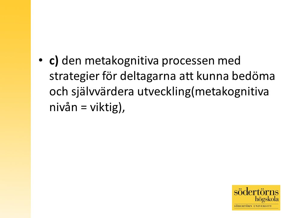c) den metakognitiva processen med strategier för deltagarna att kunna bedöma och självvärdera utveckling(metakognitiva nivån = viktig),