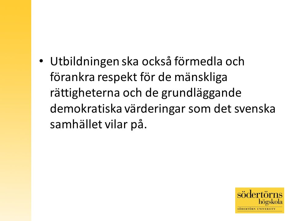 Utbildningen ska också förmedla och förankra respekt för de mänskliga rättigheterna och de grundläggande demokratiska värderingar som det svenska samhället vilar på.