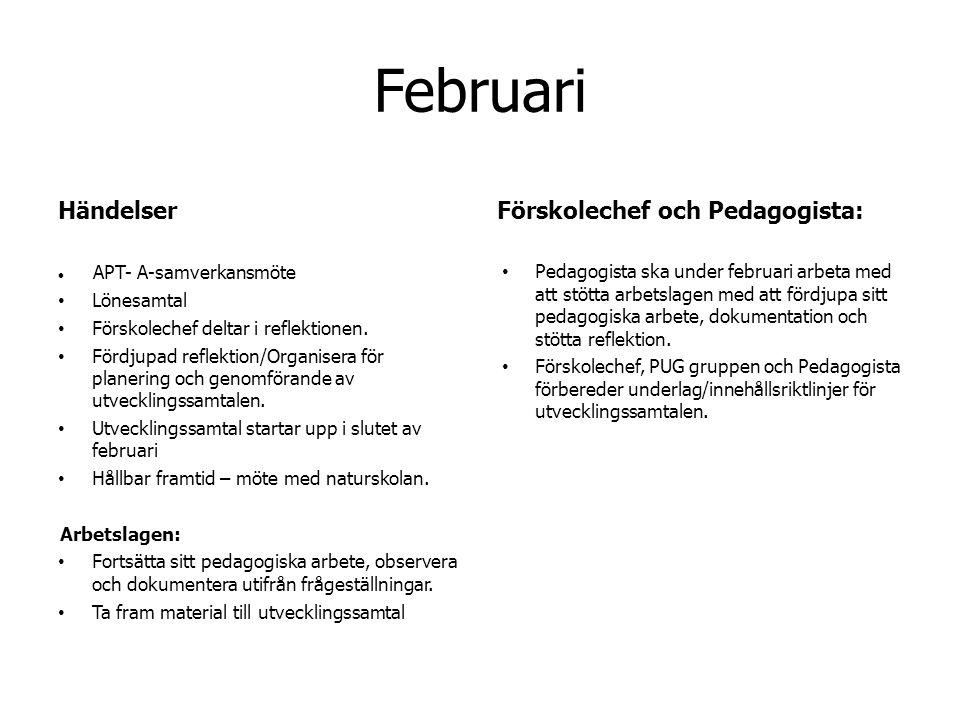 Februari Händelser APT- A-samverkansmöte Lönesamtal Förskolechef deltar i reflektionen.