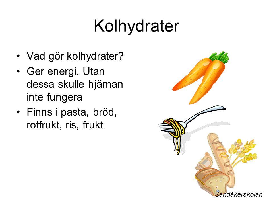 Kolhydrater Vad gör kolhydrater. Ger energi.