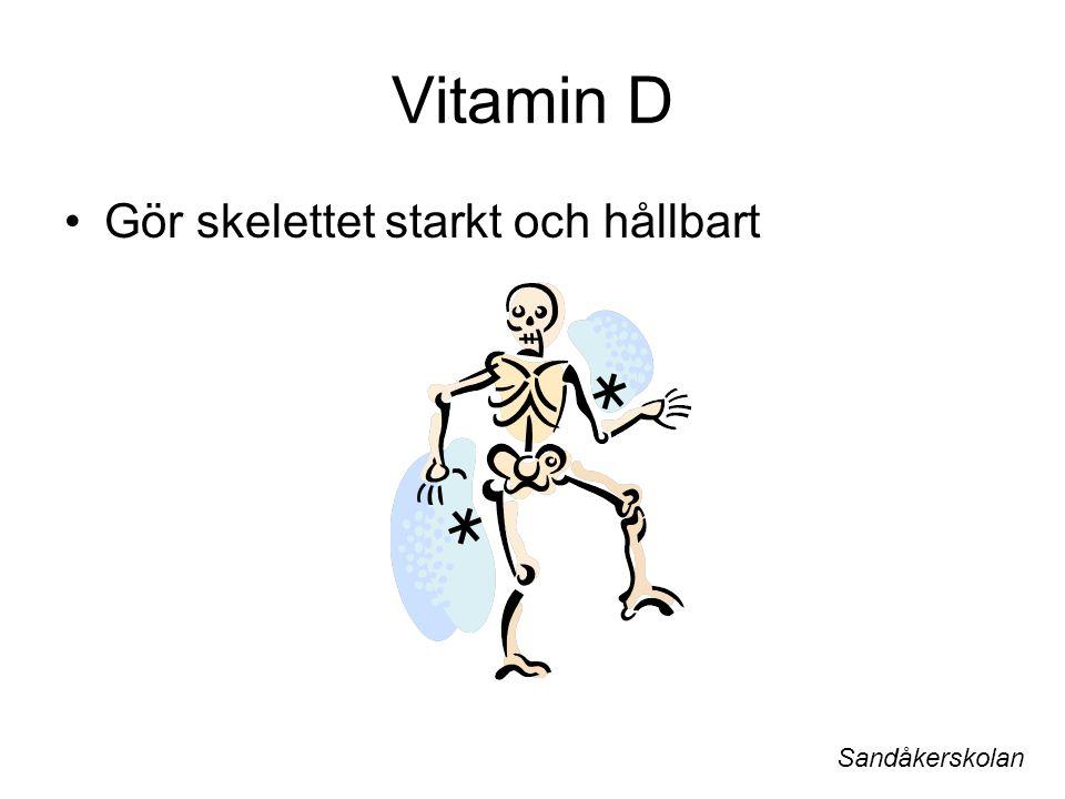 Vitamin D Gör skelettet starkt och hållbart Sandåkerskolan
