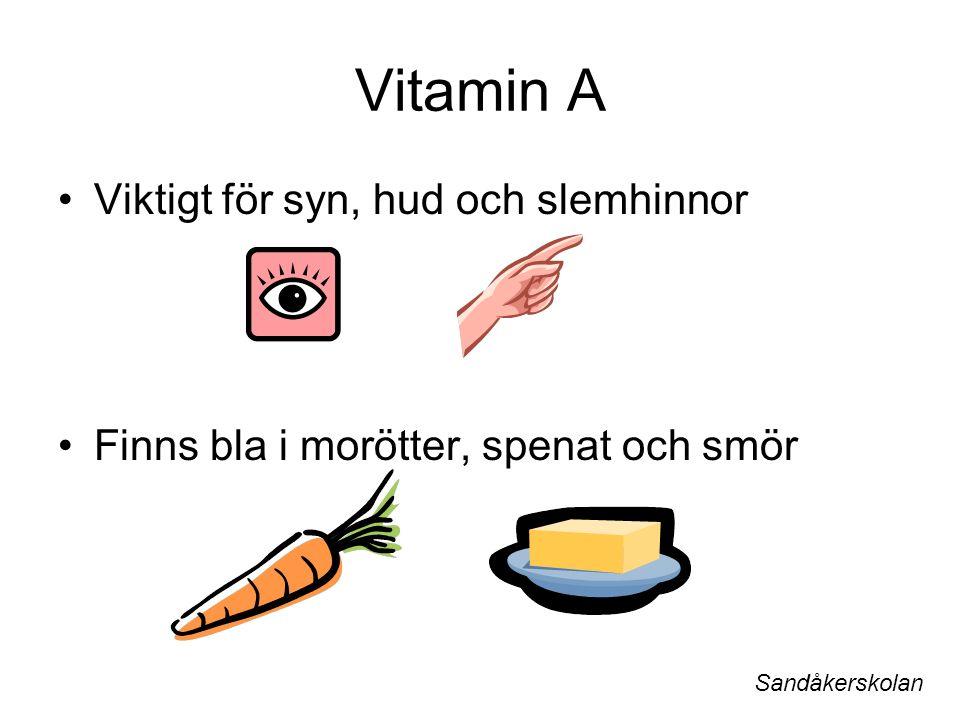 Vitamin A Viktigt för syn, hud och slemhinnor Finns bla i morötter, spenat och smör Sandåkerskolan