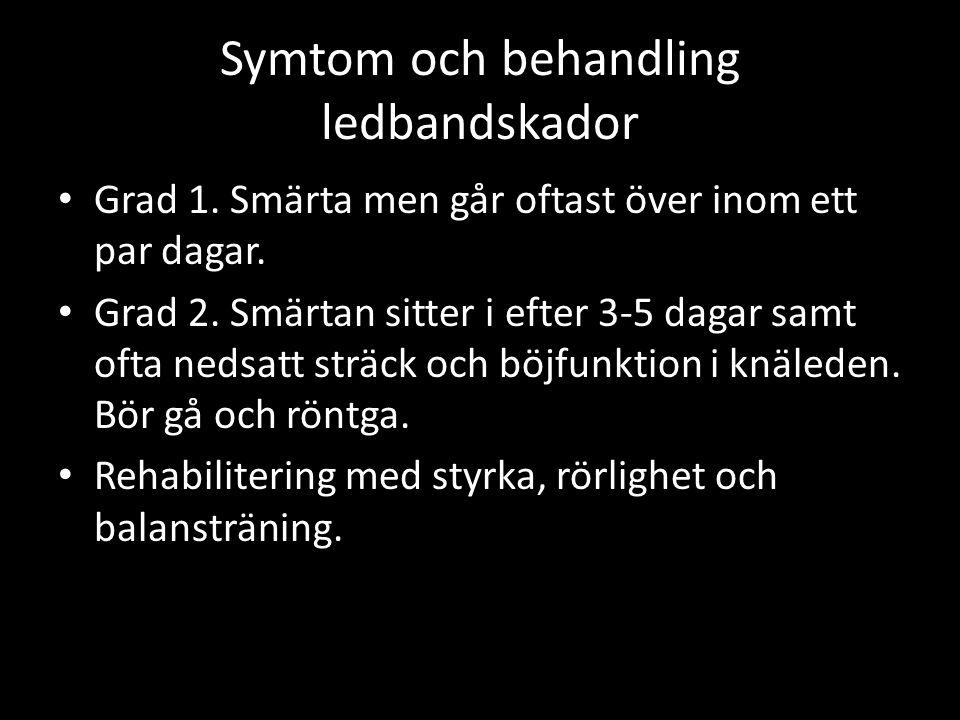 Symtom och behandling ledbandskador Grad 1. Smärta men går oftast över inom ett par dagar.