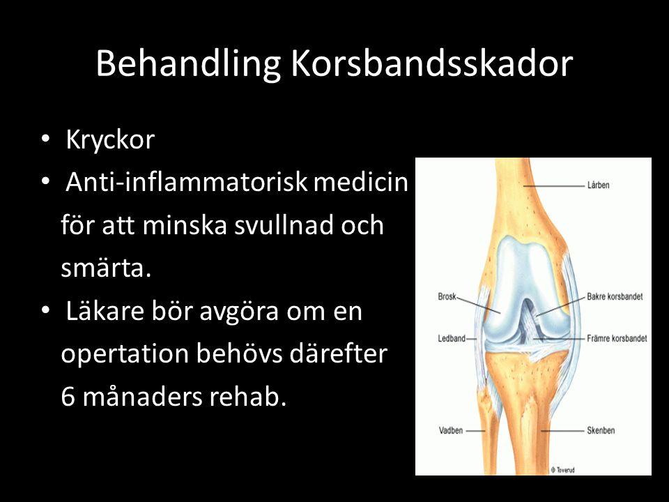 Behandling Korsbandsskador Kryckor Anti-inflammatorisk medicin för att minska svullnad och smärta.