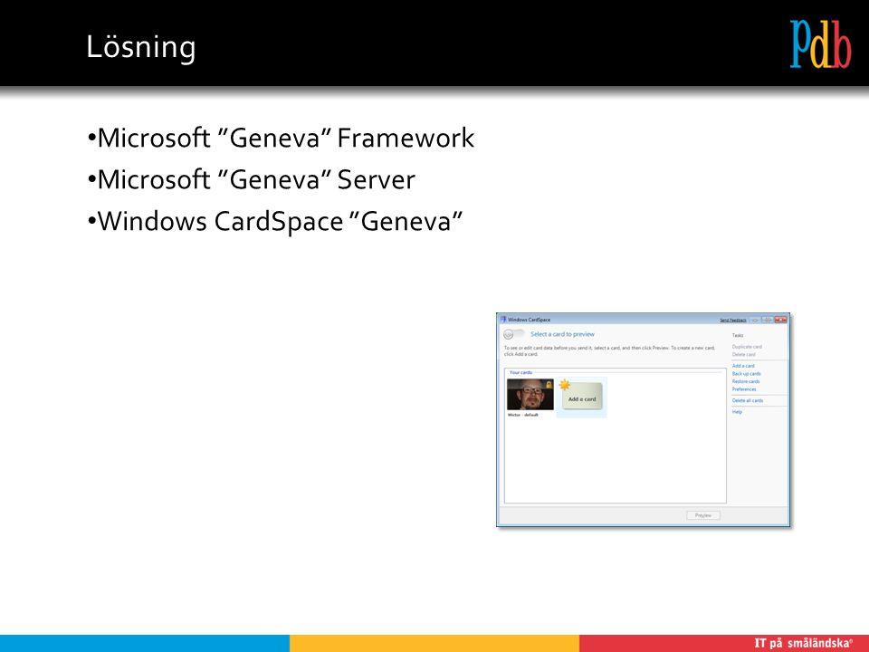 Lösning Microsoft Geneva Framework Microsoft Geneva Server Windows CardSpace Geneva