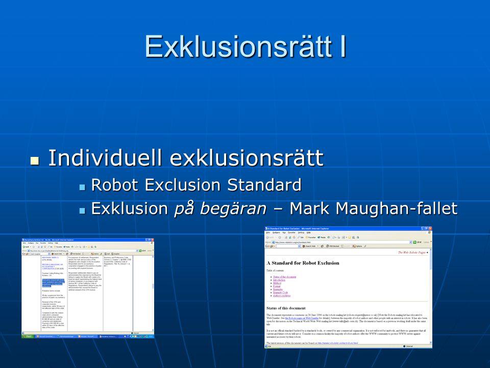 Exklusionsrätt I Individuell exklusionsrätt Individuell exklusionsrätt Robot Exclusion Standard Robot Exclusion Standard Exklusion på begäran – Mark Maughan-fallet Exklusion på begäran – Mark Maughan-fallet