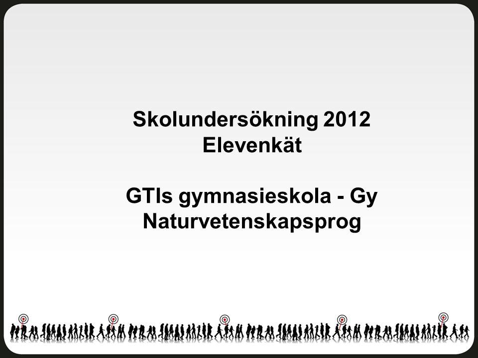 Trivsel och trygghet GTIs gymnasieskola - Gy Naturvetenskapsprog Antal svar: 16