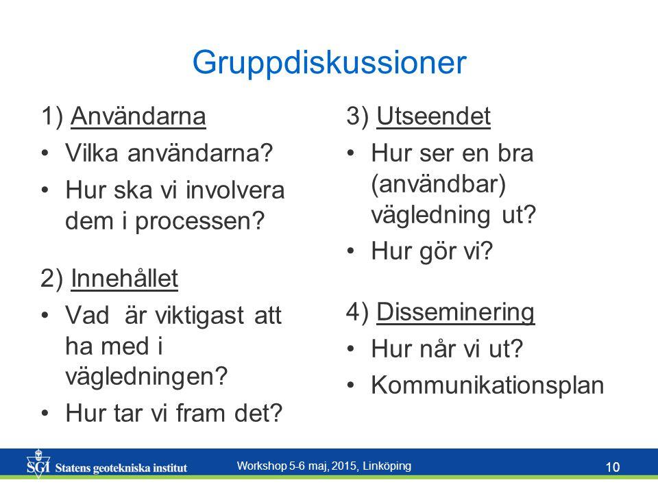 Workshop 5-6 maj, 2015, Linköping 10 Gruppdiskussioner 1) Användarna Vilka användarna.