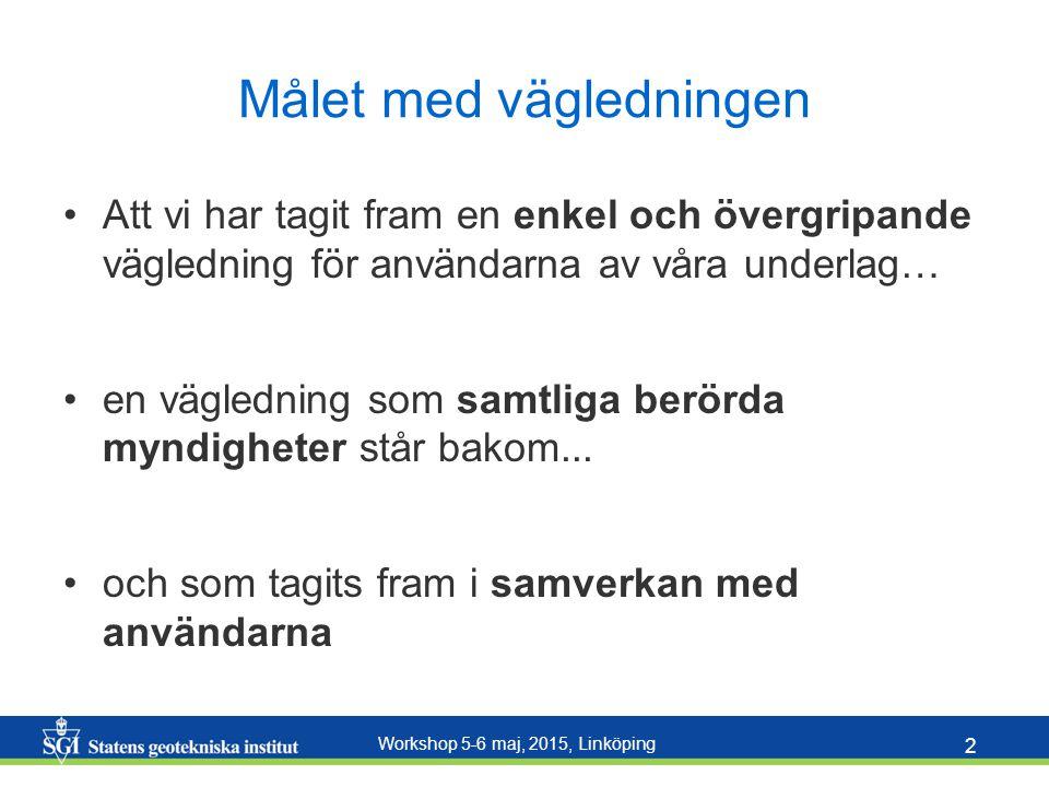 Workshop 5-6 maj, 2015, Linköping 2 Målet med vägledningen Att vi har tagit fram en enkel och övergripande vägledning för användarna av våra underlag… en vägledning som samtliga berörda myndigheter står bakom...