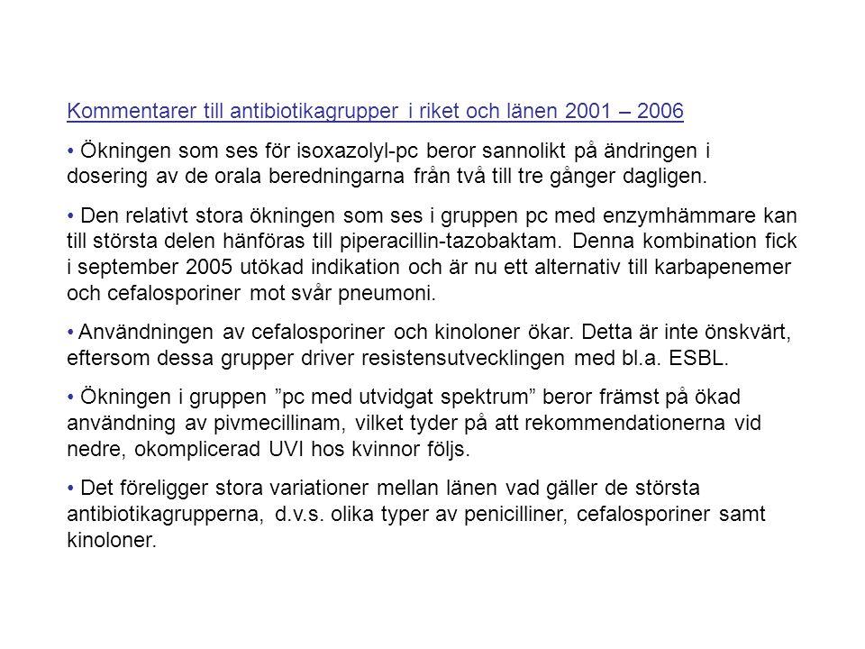 Kommentarer till antibiotikagrupper i riket och länen 2001 – 2006 Ökningen som ses för isoxazolyl-pc beror sannolikt på ändringen i dosering av de ora