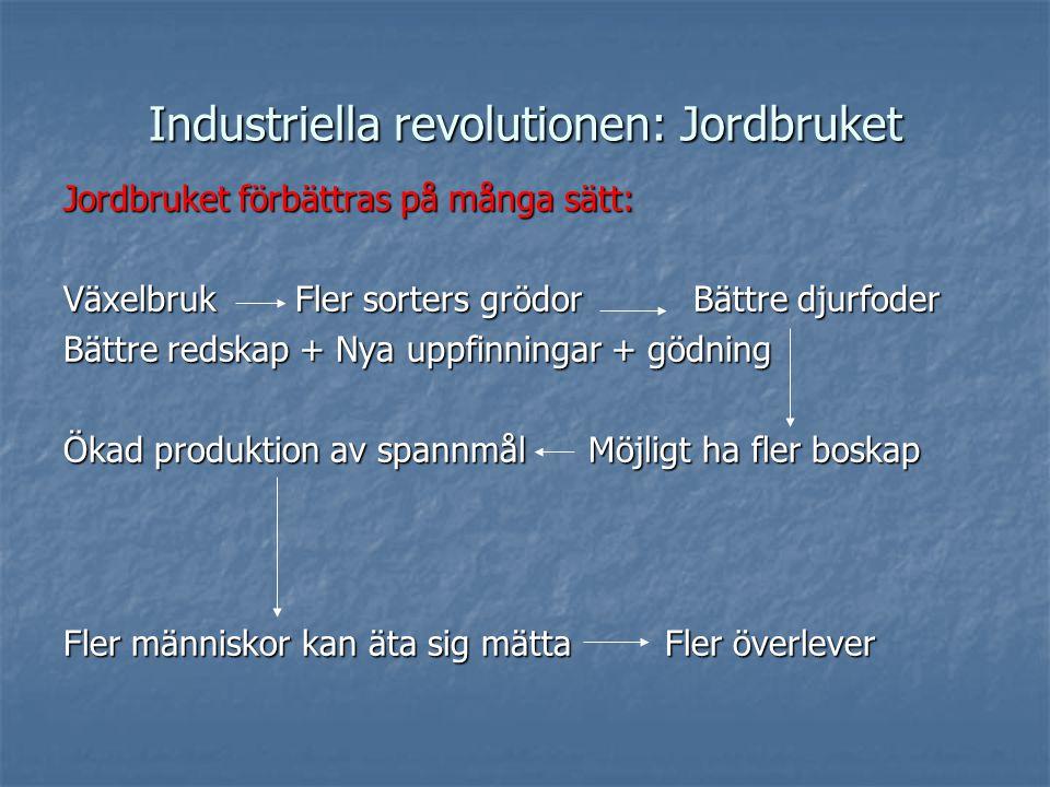 Industriella revolutionen: Jordbruket Jordbruket förbättras på många sätt: Växelbruk Fler sorters grödorBättre djurfoder Bättre redskap + Nya uppfinningar + gödning Ökad produktion av spannmålMöjligt ha fler boskap Fler människor kan äta sig mätta Fler överlever