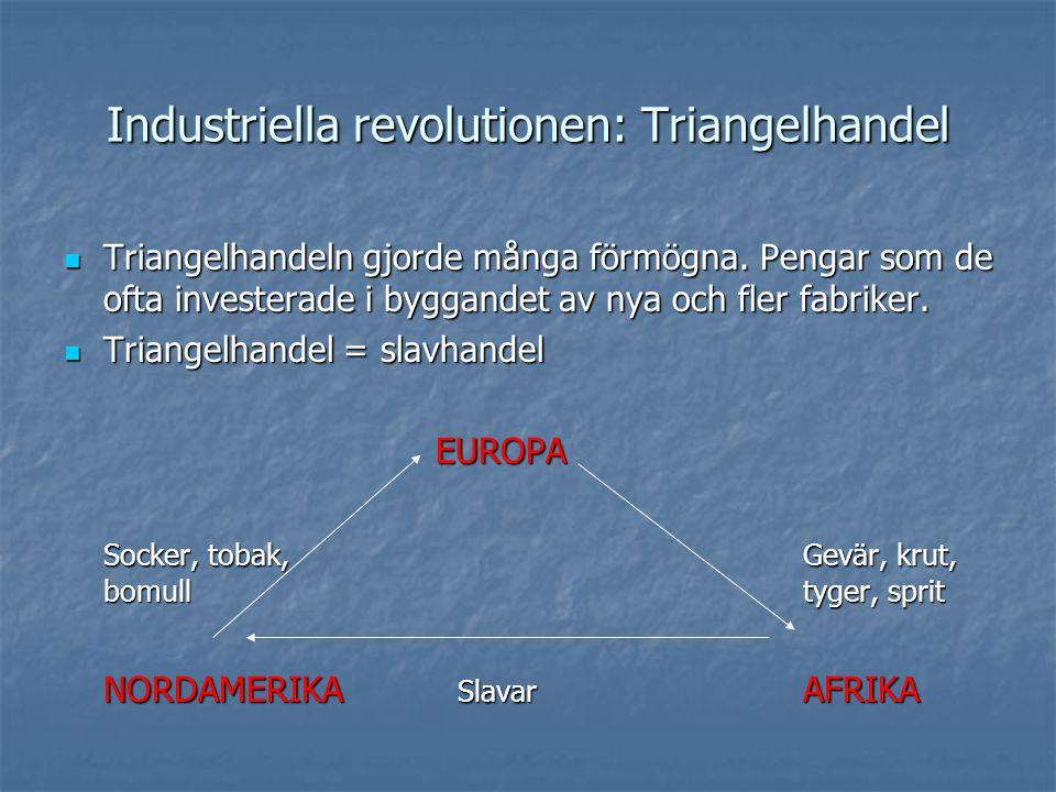 Industriella revolutionen: Triangelhandel Triangelhandeln gjorde många förmögna.