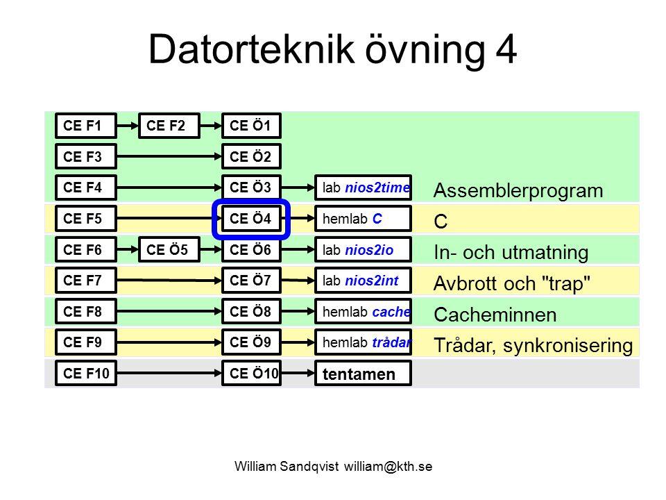 William Sandqvist william@kth.se Formaterad utskrift printf() %d utskrift av heltalsvariabel %x utskrift av heltalsvariabel men hexadecimalt %f utskrift av flyttalsvariabel \n nyradstecken \t tabulatortecken För att använda printf() #include