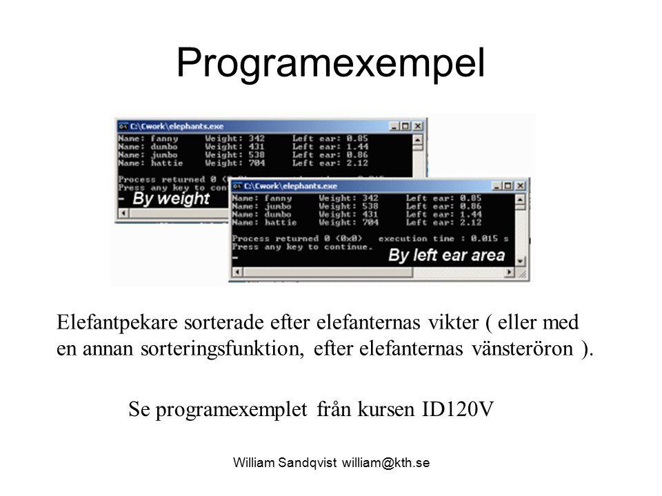 Programexempel Se programexemplet från kursen ID120V Elefantpekare sorterade efter elefanternas vikter ( eller med en annan sorteringsfunktion, efter elefanternas vänsteröron ).