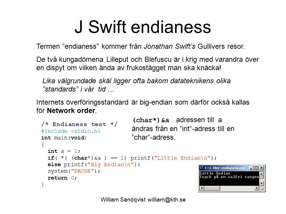 William Sandqvist william@kth.se pekare * adress & och avreferering * int b; Deklaration av heltalsvariabeln b.