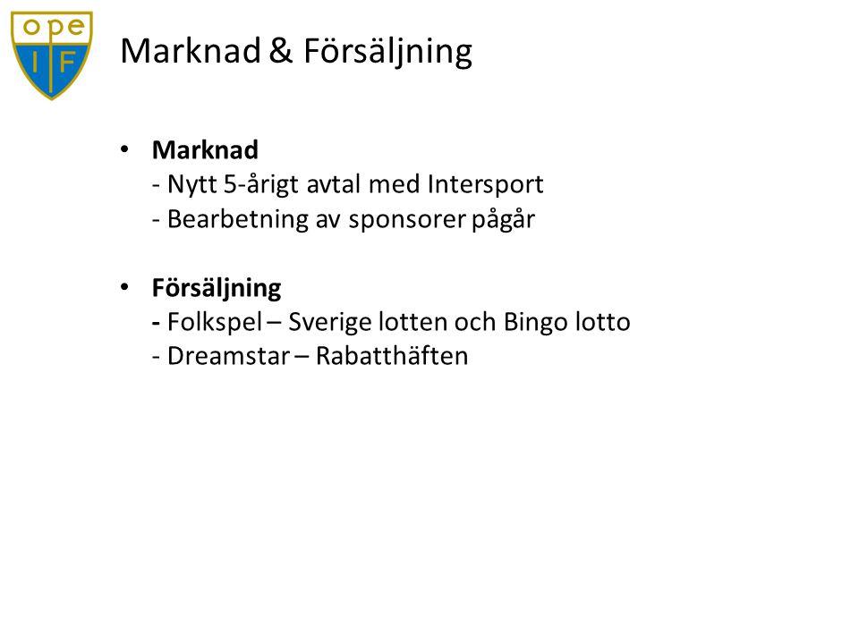 Marknad & Försäljning Marknad - Nytt 5-årigt avtal med Intersport - Bearbetning av sponsorer pågår Försäljning - Folkspel – Sverige lotten och Bingo lotto - Dreamstar – Rabatthäften