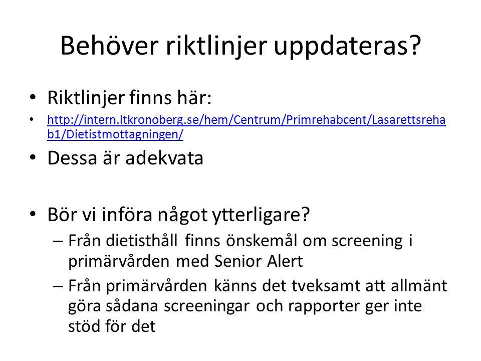 Behöver riktlinjer uppdateras? Riktlinjer finns här: http://intern.ltkronoberg.se/hem/Centrum/Primrehabcent/Lasarettsreha b1/Dietistmottagningen/ http