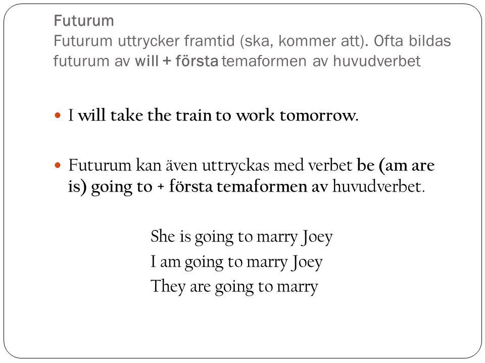 Futurum Futurum uttrycker framtid (ska, kommer att).