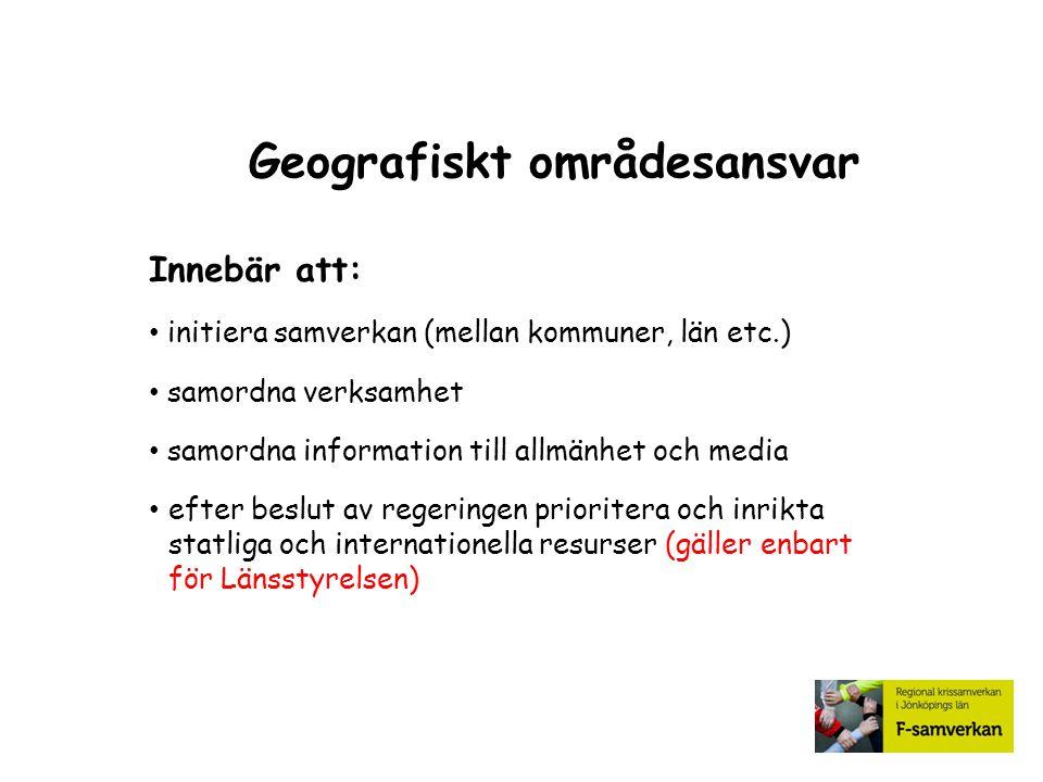 Geografiskt områdesansvar Innebär att: initiera samverkan (mellan kommuner, län etc.) samordna verksamhet samordna information till allmänhet och medi