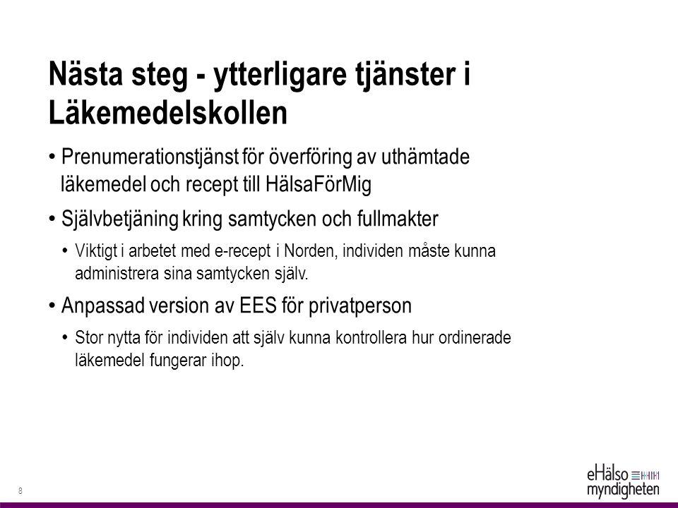 Nästa steg - ytterligare tjänster i Läkemedelskollen Prenumerationstjänst för överföring av uthämtade läkemedel och recept till HälsaFörMig Självbetjäning kring samtycken och fullmakter Viktigt i arbetet med e-recept i Norden, individen måste kunna administrera sina samtycken själv.