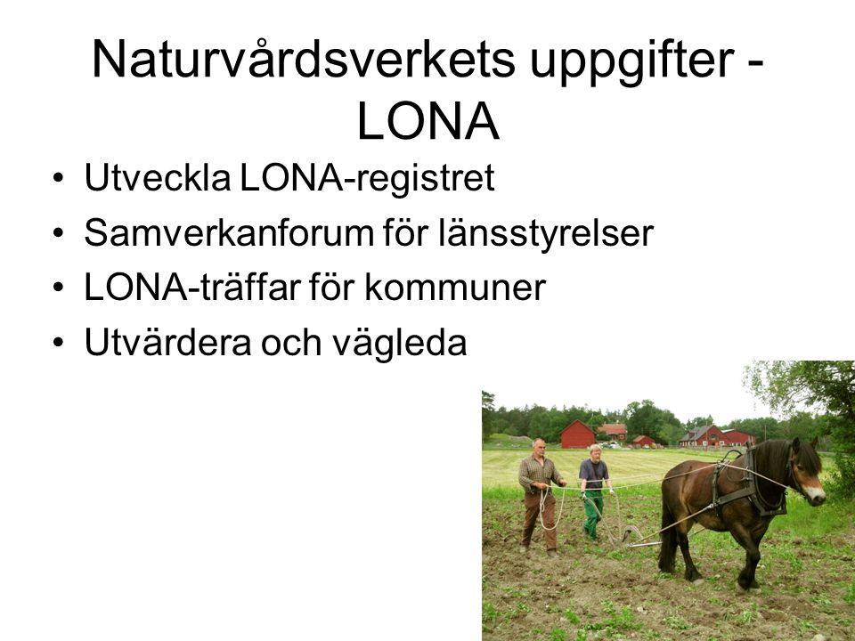 Naturvårdsverkets uppgifter - LONA Utveckla LONA-registret Samverkanforum för länsstyrelser LONA-träffar för kommuner Utvärdera och vägleda