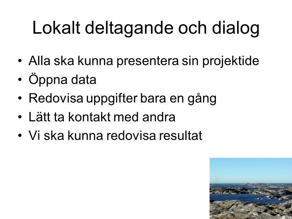 Lokalt deltagande och dialog Alla ska kunna presentera sin projektide Öppna data Redovisa uppgifter bara en gång Lätt ta kontakt med andra Vi ska kunna redovisa resultat