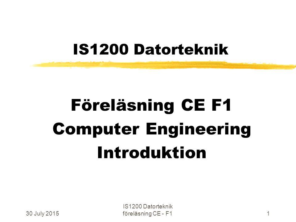 30 July 2015 IS1200 Datorteknik föreläsning CE - F12 Välkommen till IS1200 Datorteknik Hur datorer fungerar Kursens hemsida finns utpekad från: http://www.ict.kth.se/courses/IS1200 emailadress till lärare: is1200@ict.kth.se Kursansvarig: Johan Wennlund