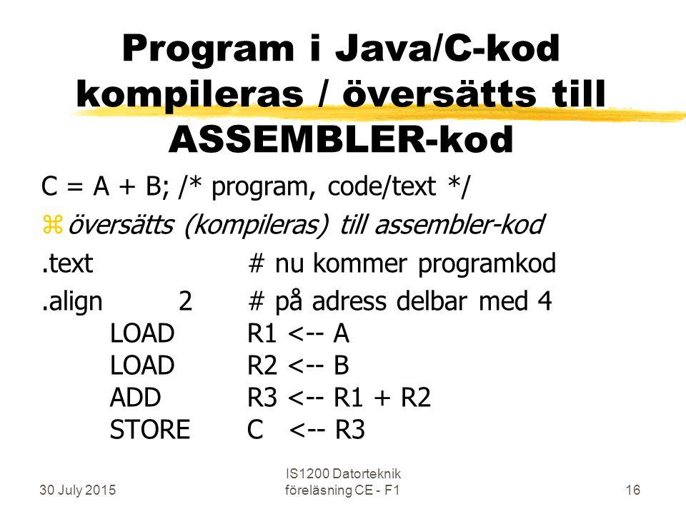 30 July 2015 IS1200 Datorteknik föreläsning CE - F116 C = A + B;/* program, code/text */ zöversätts (kompileras) till assembler-kod.text# nu kommer programkod.align2# på adress delbar med 4 LOADR1 <-- A LOADR2 <-- B ADDR3 <-- R1 + R2 STOREC <-- R3 Program i Java/C-kod kompileras / översätts till ASSEMBLER-kod
