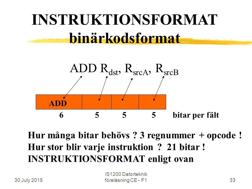 30 July 2015 IS1200 Datorteknik föreläsning CE - F133 ADD R dst, R srcA, R srcB ADD Hur många bitar behövs .